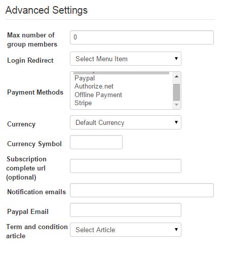 Advanced Settings | Membership Pro Documentation